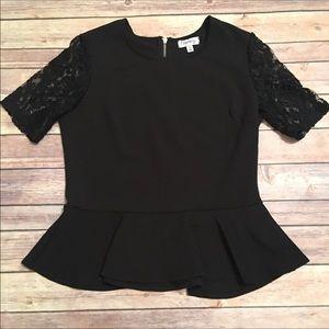 Black lace sleeve peplum top